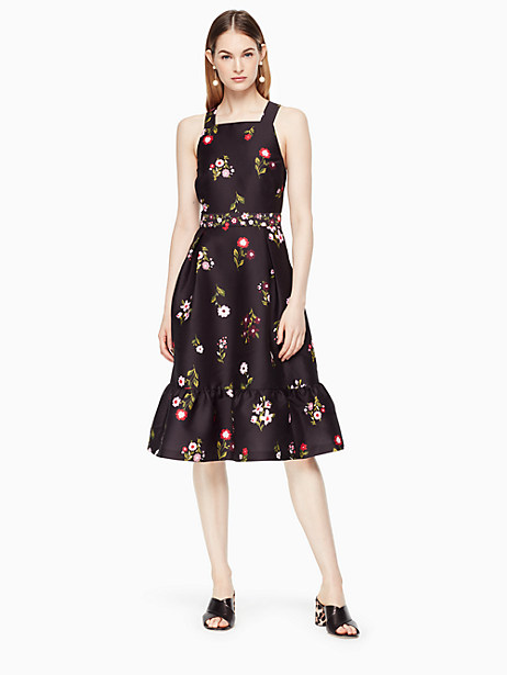Kate Spade In Bloom Fit And Flare Dress, Black - Size 0