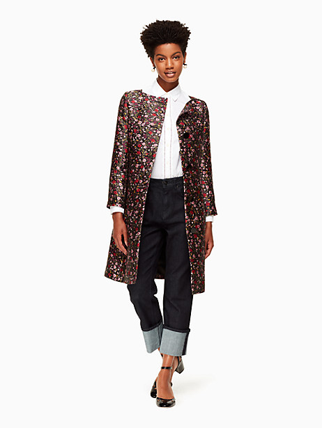 Kate Spade Boho Floral Jacquard Coat, Black - Size 0