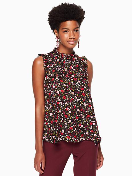Kate Spade Boho Floral Ruffle Yoke Top, Black - Size L