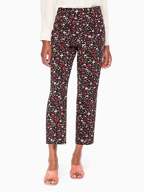 Kate Spade Boho Floral Cigarette Pant, Black - Size 10