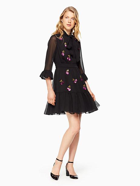 Kate Spade Sequin Cherries Shirtdress, Black - Size 0