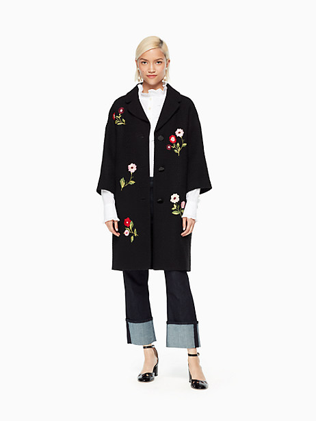 Kate Spade Embroidered Tweed Coat, Black - Size L