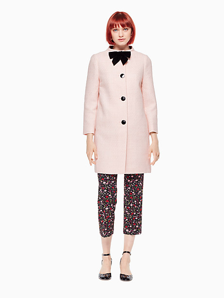 Kate Spade Bow Tweed Coat, Rose Dew - Size 00