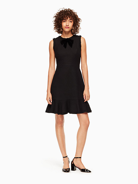 Kate Spade Ruffle Tweed Dress, Black - Size 0
