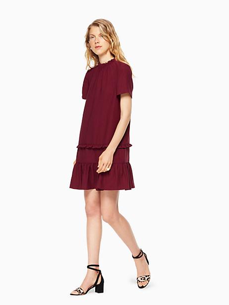 Kate Spade Ruffle Shift Dress, Deep Cherry - Size L