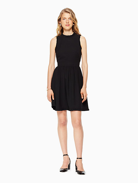 Kate Spade Ruffle Fit And Flare Dress, Black - Size 00