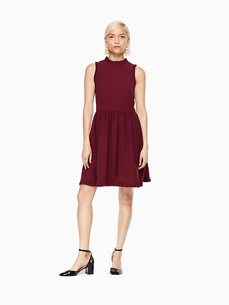 Kate Spade Ruffle Fit And Flare Dress, Deep Cherry - Size 2