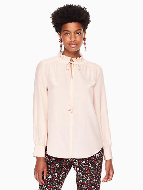 Kate Spade Ruffle Neck Silk Top, Rose Dew - Size L