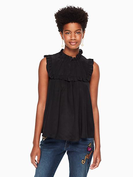 Kate Spade Ruffle Yoke Silk Top, Black - Size L