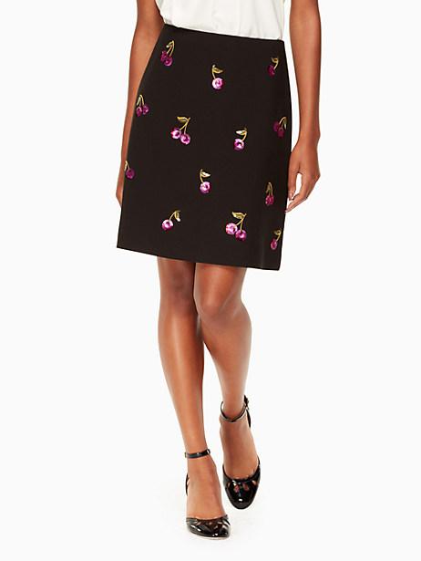 Kate Spade Sequin Cherries Skirt, Black - Size 0