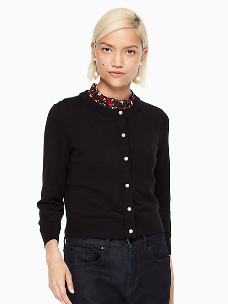 Kate Spade Pearl Button Cropped Cardigan, Black - Size L