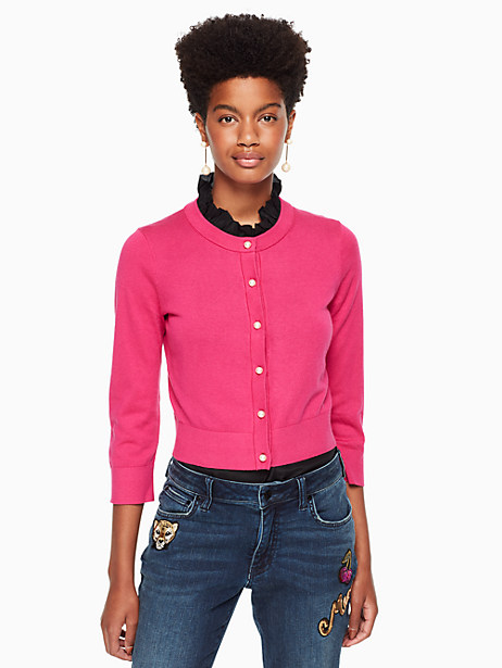 Kate Spade Pearl Button Cropped Cardigan, Luxe Pink - Size L