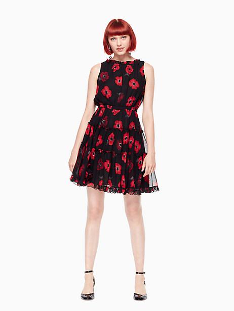 Kate Spade Poppy Chiffon Mini Dress, Black - Size 0