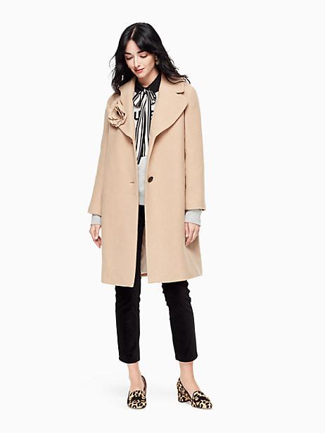 Kate Spade Wool Boucle Poppy Coat, Adalia Camel - Size 0