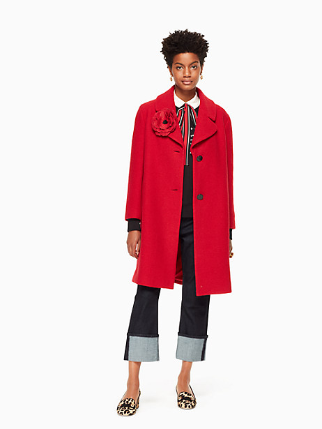 Kate Spade Wool Boucle Poppy Coat, Charm Red - Size 0