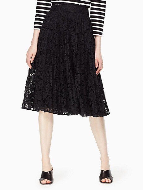 Kate Spade Poppy Lace Pleated Skirt, Black - Size 0