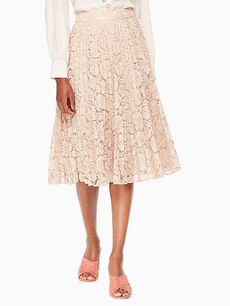 Kate Spade Poppy Lace Pleated Skirt, Amaretto - Size 0