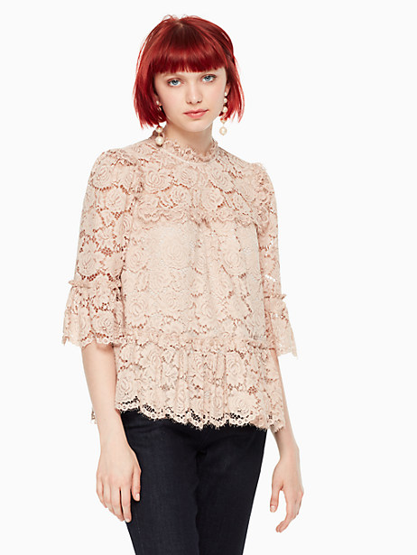 Kate Spade Poppy Lace Top, Amaretto - Size L
