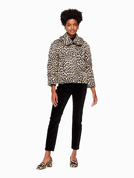 Leopard-print Puffer Jacket, Classic Camel - Size 16