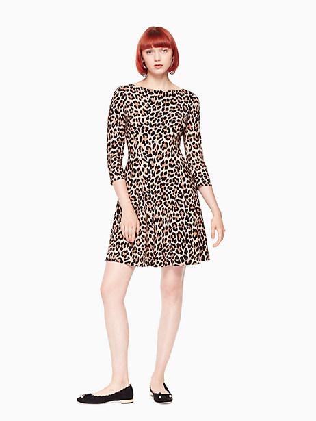 Kate Spade Leopard-print Ponte Dress, Classic Camel - Size 00