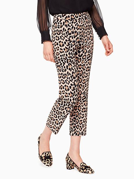 Kate Spade Leopard-print Cigarette Pant, Classic Camel - Size 0
