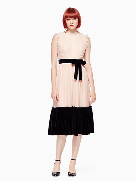 Kate Spade Mixed Velvet Chiffon Dress, Rose Dew - Size 0