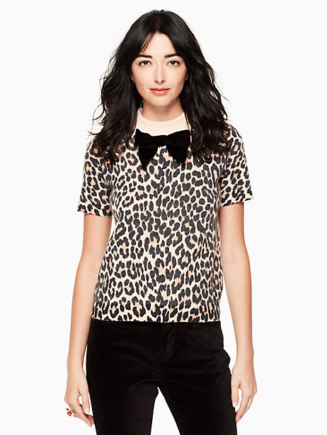 Kate Spade Leopard-print Velvet Bow Sweater, Classic Leopard - Size M