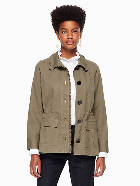 Ruffle Military Jacket, Olive Green - Size L