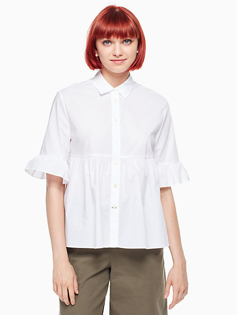 Kate Spade Ruffle Sleeve Shirt, Fresh White - Size L