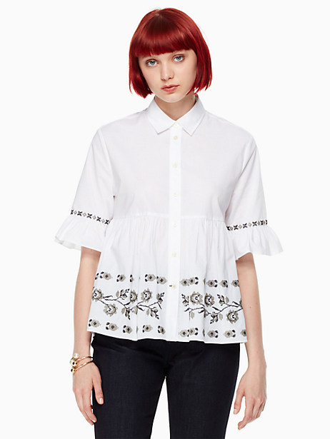 Kate Spade Embroidered Ruffle Sleeve Shirt, Fresh White - Size L