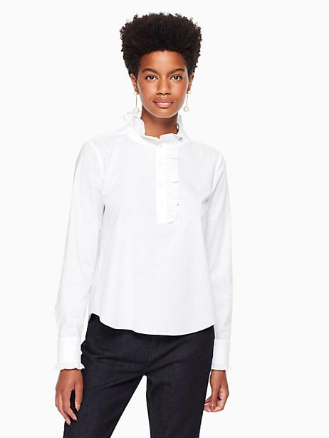 Kate Spade Ruffle Neck Poplin Shirt, Fresh White - Size L