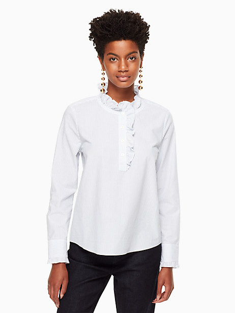Kate Spade Stripe Ruffle Neck Poplin Shirt, Fresh White/Deep Ultramarine - Size L