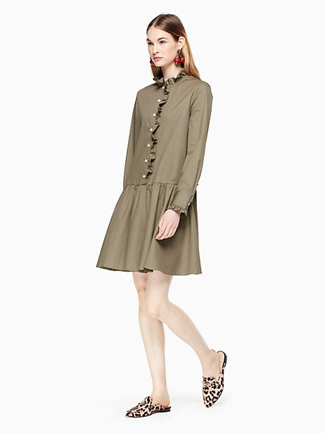 Kate Spade Ruffle Neck Poplin Dress, Olive Green - Size XS