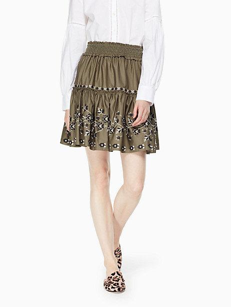 Kate Spade Embroidered Poplin Skirt, Olive Green - Size M