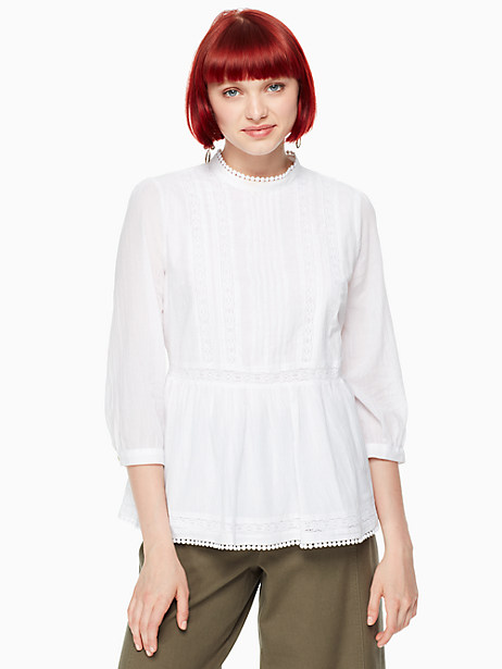 Kate Spade Lace Inset Flounce Top, Fresh White - Size S