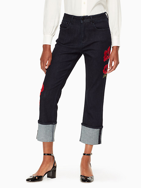 Kate Spade Poppy Embroidered Jean, Dark Rinse - Size 24