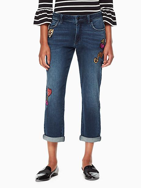 Kate Spade Patch Embellished Jean, Billie Wash - Size 25