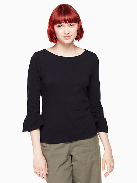 Kate Spade Flounce Knit Top, Black - Size L