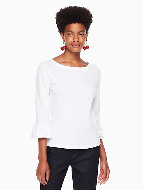 Kate Spade Flounce Knit Top, Fresh White - Size L