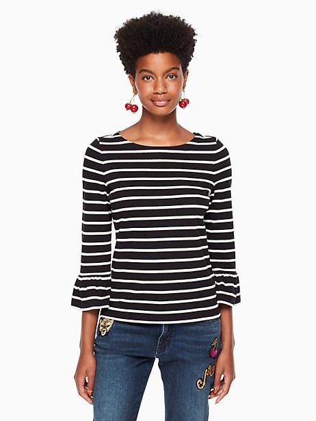 Kate Spade Stripe Flounce Knit Top, Black/Off-White - Size L
