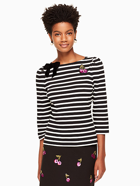 Kate Spade Patch Embellished Stripe Top, Black/Off-White - Size L