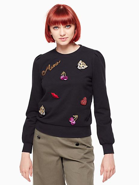 Kate Spade Patch Sweatshirt, Black - Size L