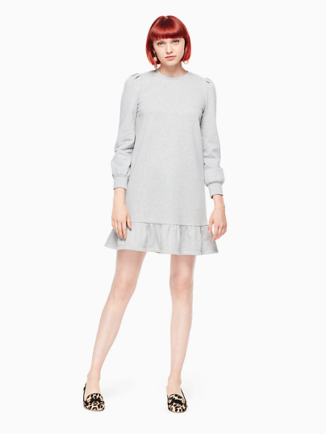 Kate Spade Knit Flounce Dress, Light Heather Grey - Size L