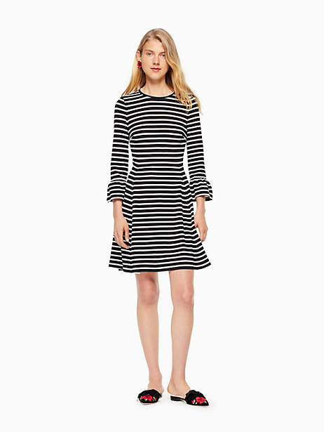 Kate Spade Stripe Ponte Fit And Flare Dress, Black/Off-White - Size L