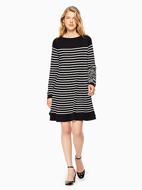 Kate Spade Stripe Swing Sweater Dress, Black/Off-White - Size L