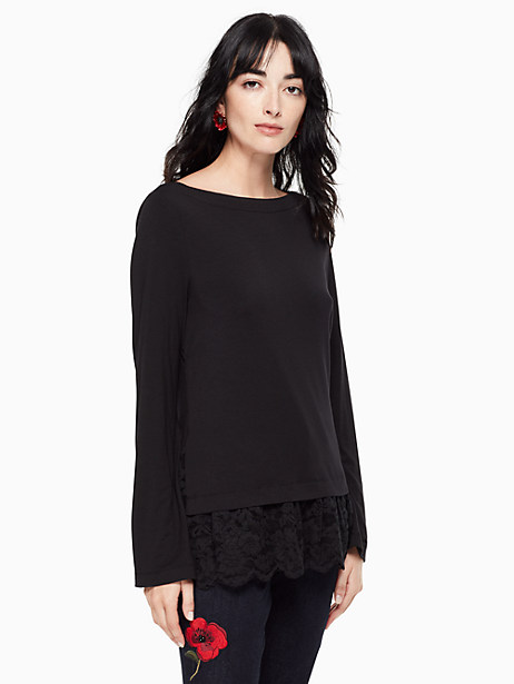 Kate Spade Mixed Lace Knit Top, Black - Size L