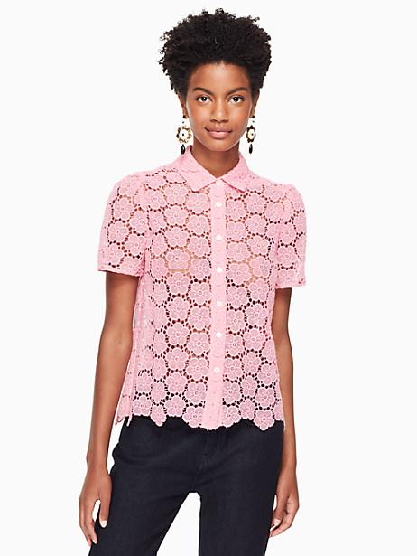 Kate Spade Bloom Flower Lace Top, Parisian Pink - Size L