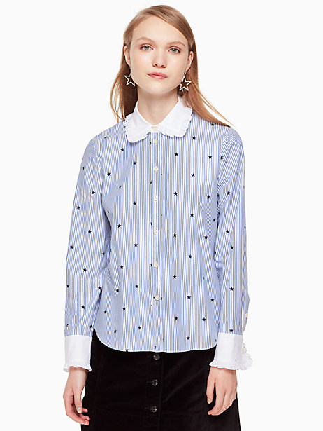 Kate Spade Twinkle Stripe Poplin Shirt, Blue/Fresh White - Size XS