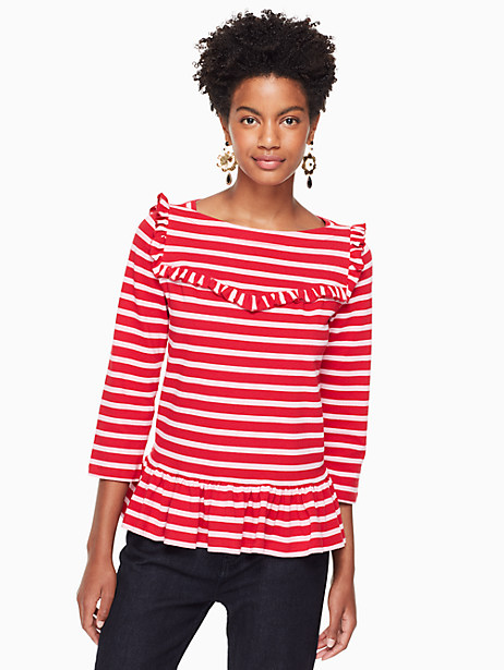 Kate Spade Ruffle Yoke Stripe Knit Top, Charm Red/Parisian Pink - Size L
