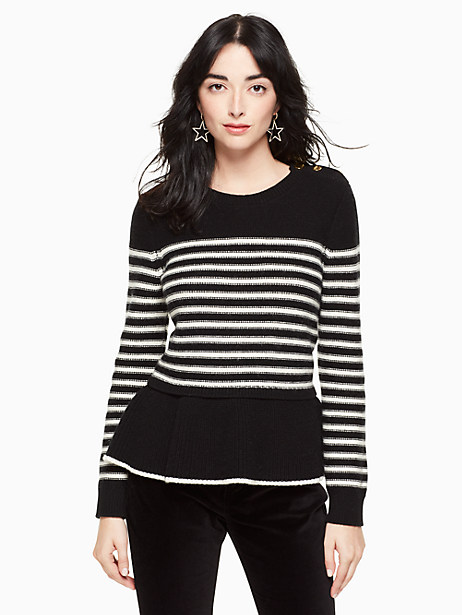 Kate Spade Stripe Peplum Sweater, Black/Cream - Size L